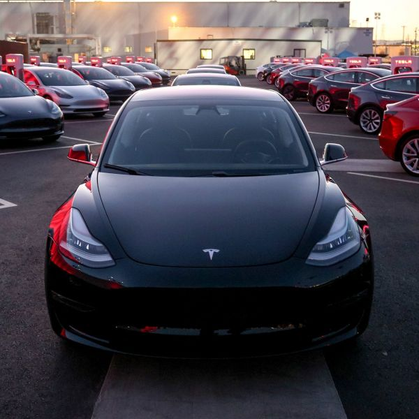 Tesla Model 3 cars are seen as Tesla holds an event at the factory handing over its first 30 Model 3 vehicles to employee buyers at the company's Fremont facility in California, U.S. July 28, 2017. Tesla/Handout via REUTERS ATTENTION EDITORS - THIS PICTURE WAS PROVIDED BY A THIRD PARTY. NO RESALES. NO ARCHIVE. - RTX3DD1O