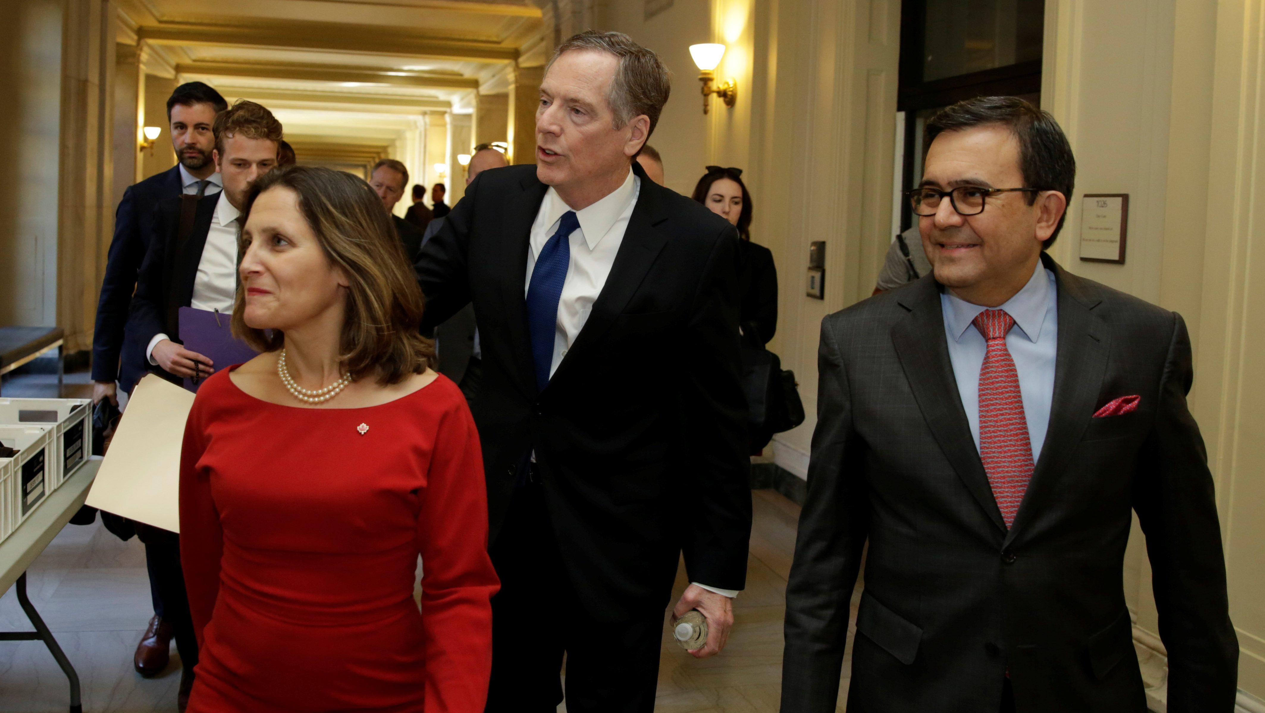 Canadian Foreign Affairs Minister Chrystia Freeland, U.S. Trade Rep Robert Lighthizer and Mexican Secretary of Economy Ildefonso Guajardo Villarreal nafta talks