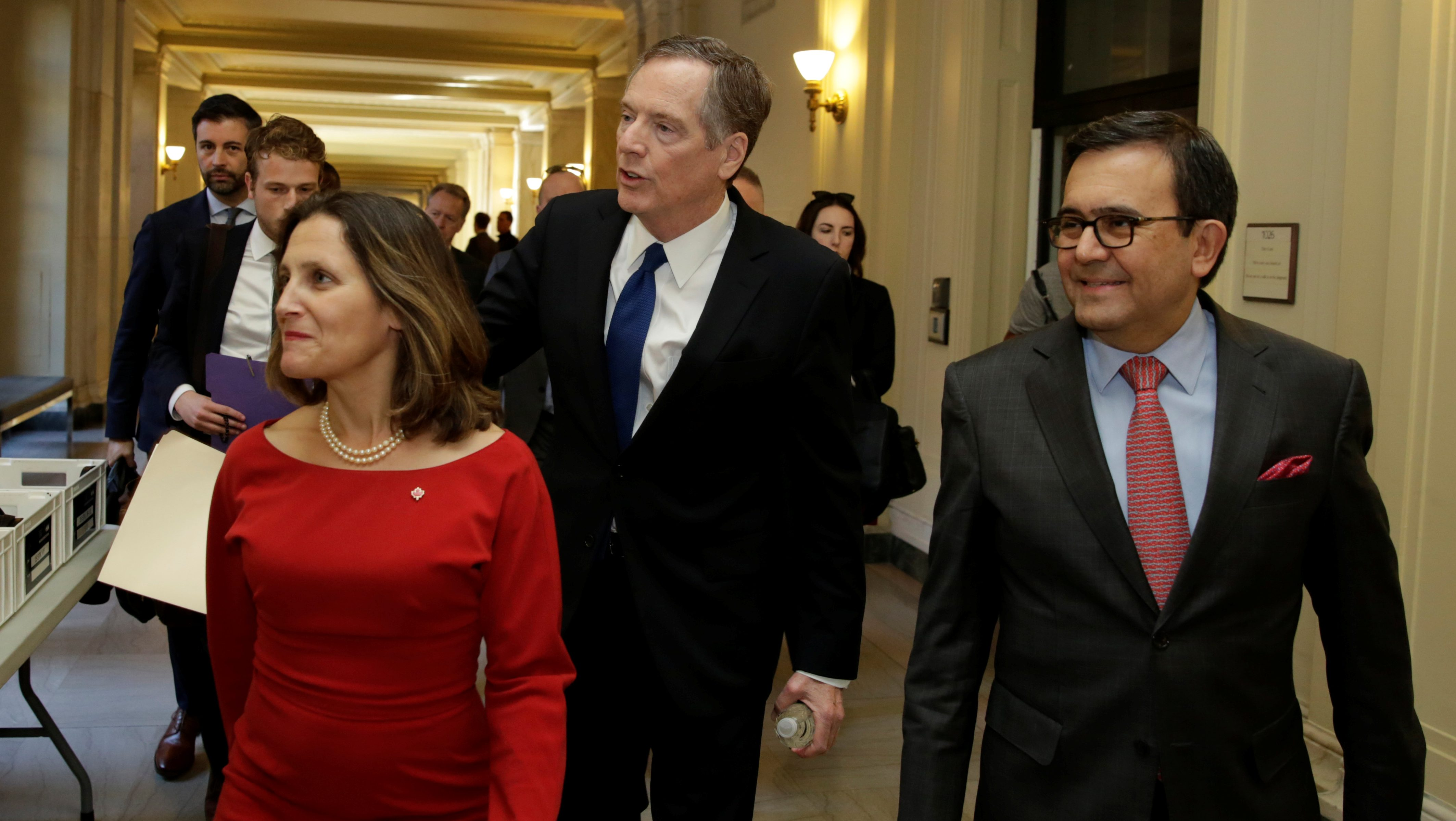 Canadian Foreign Affairs Minister Chrystia Freeland, U.S. Trade Rep Robert Lighthizer and Mexican Secretary of Economy Ildefonso Guajardo Villarreal nafta talks