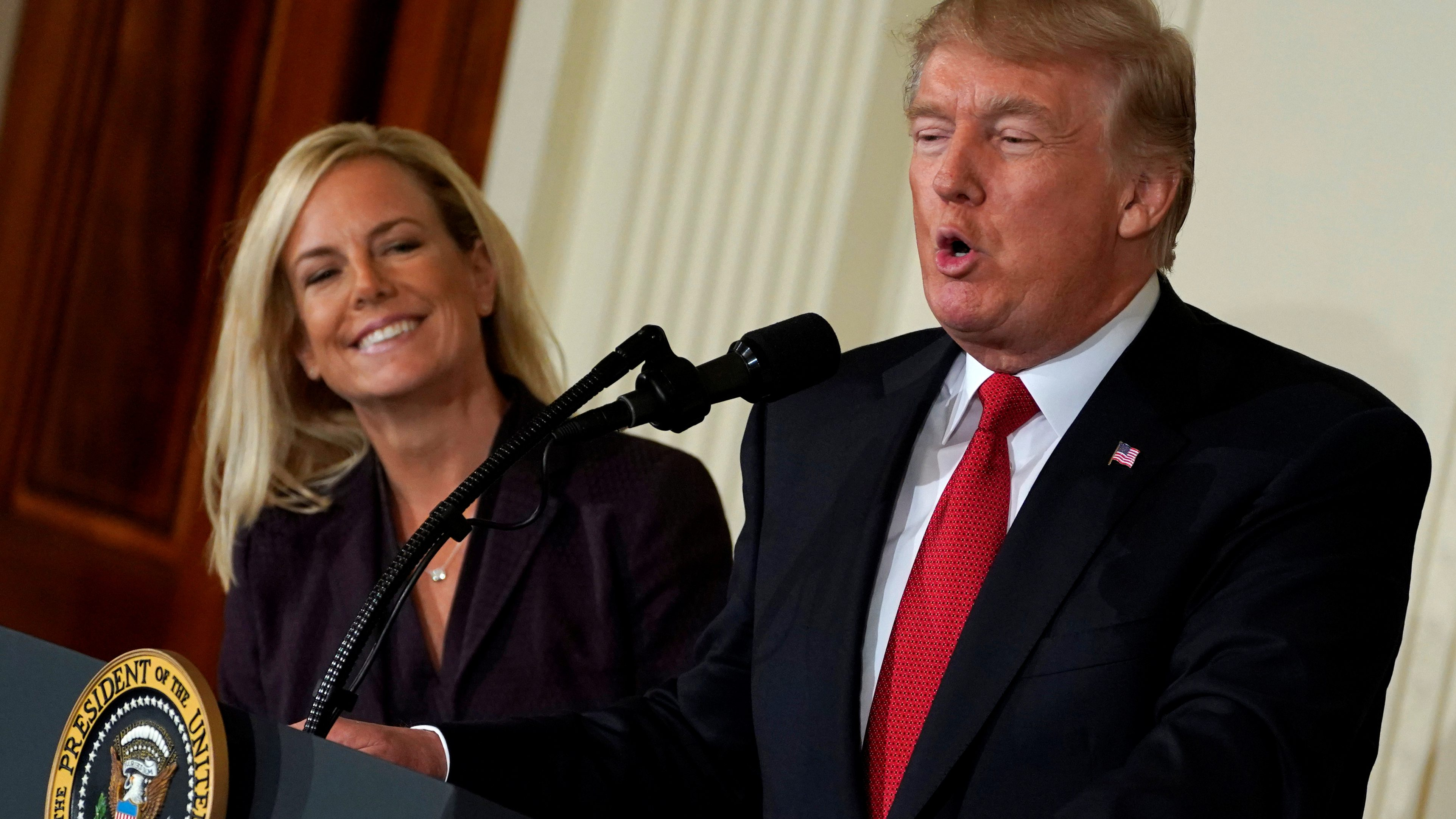 U.S. President Donald Trump introduces Secretary of Homeland Security nominee Kirstjen Nielsen at the White House in Washington, U.S., October 12, 2017. REUTERS/Yuri Gripas - RC1A0215A220