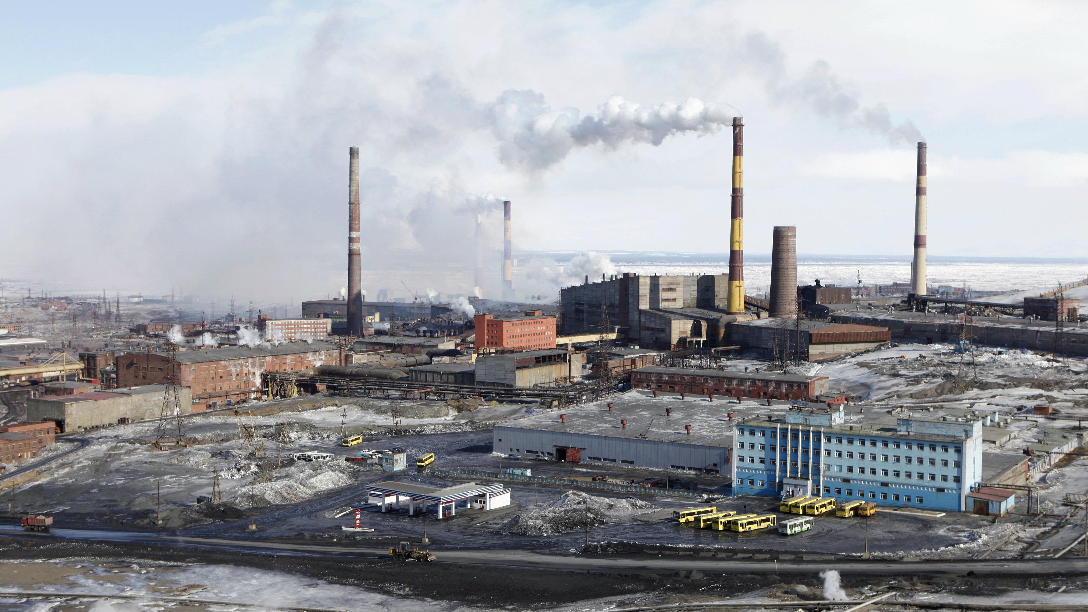 Norilsk Nickel's nickel plant in the Russia