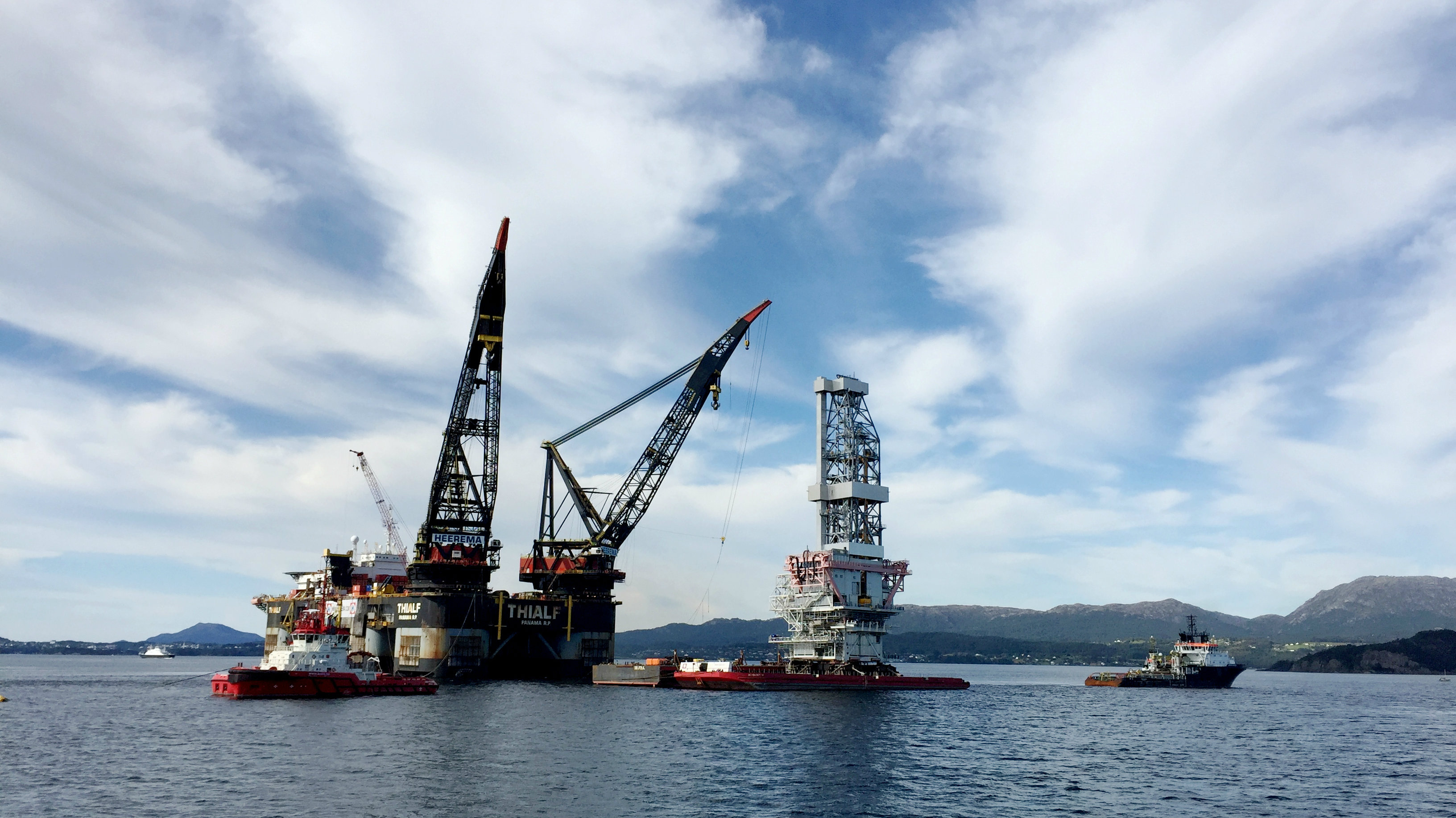 Drilling platform at at Norway's giant offshore Johan Sverdrup field