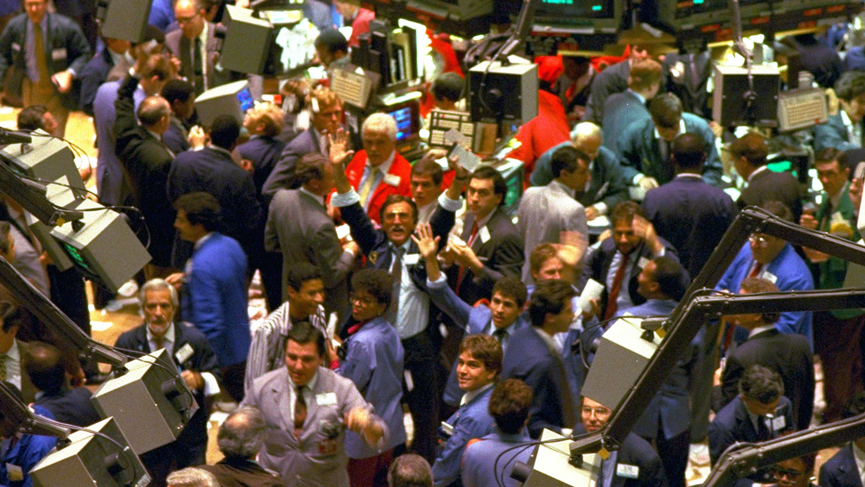 NYSE trading floor on Black Monday 1987