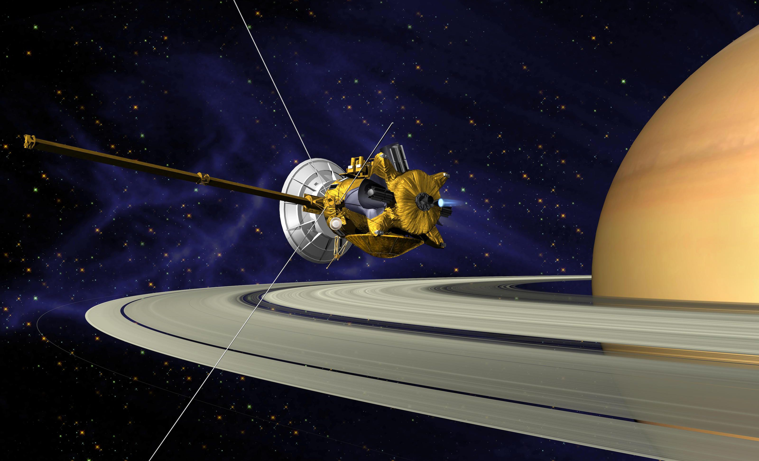 An artist's conception of Cassini Saturn Orbit insertion