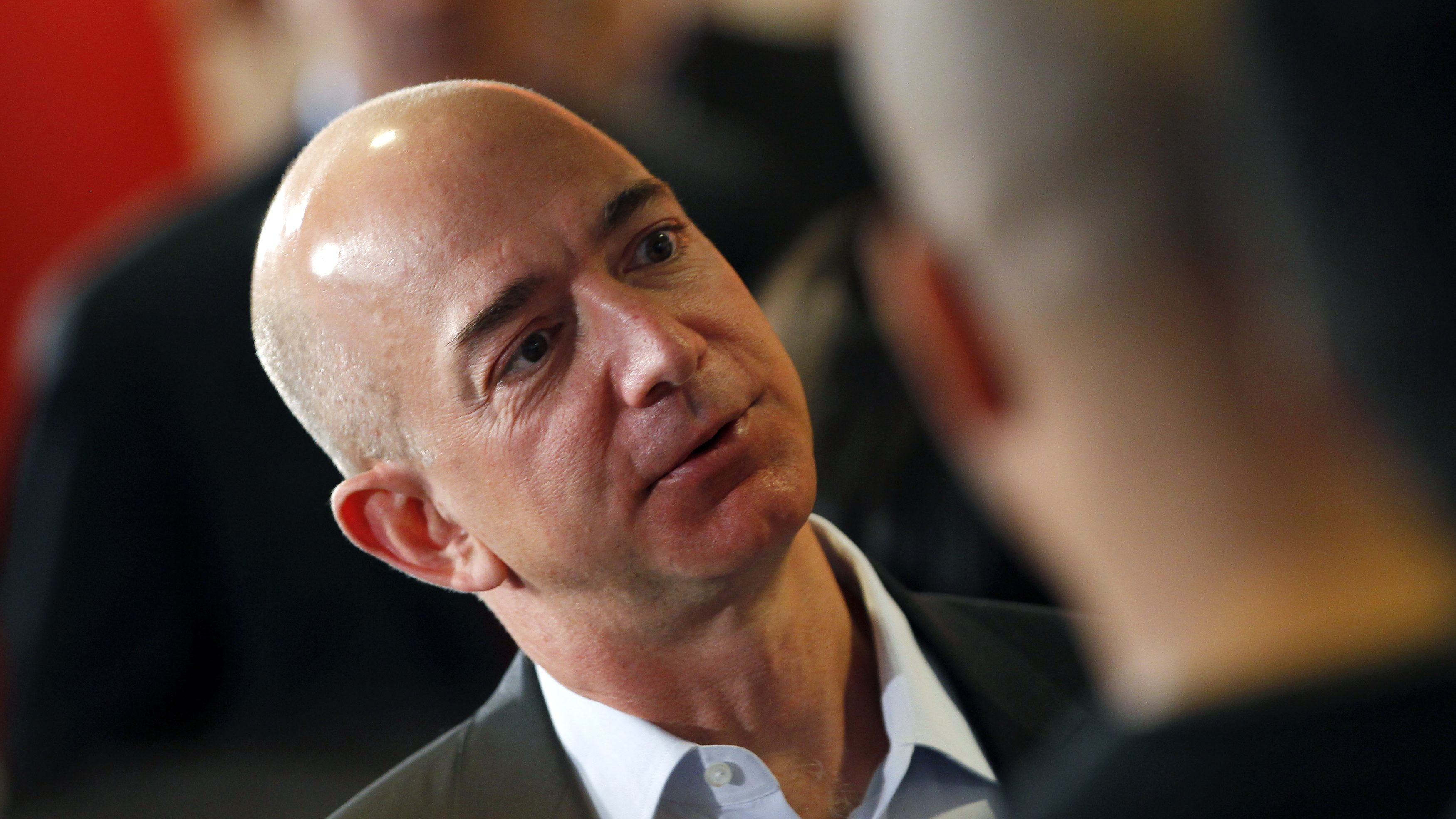 Amazon.com President, CEO and Chairman Bezos speaks at the Consumer Reports headquarters in Yonkers
