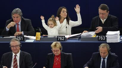 Italy's Member of the European Parliament Ronzulli takes part with her daughter Victoria in a voting...