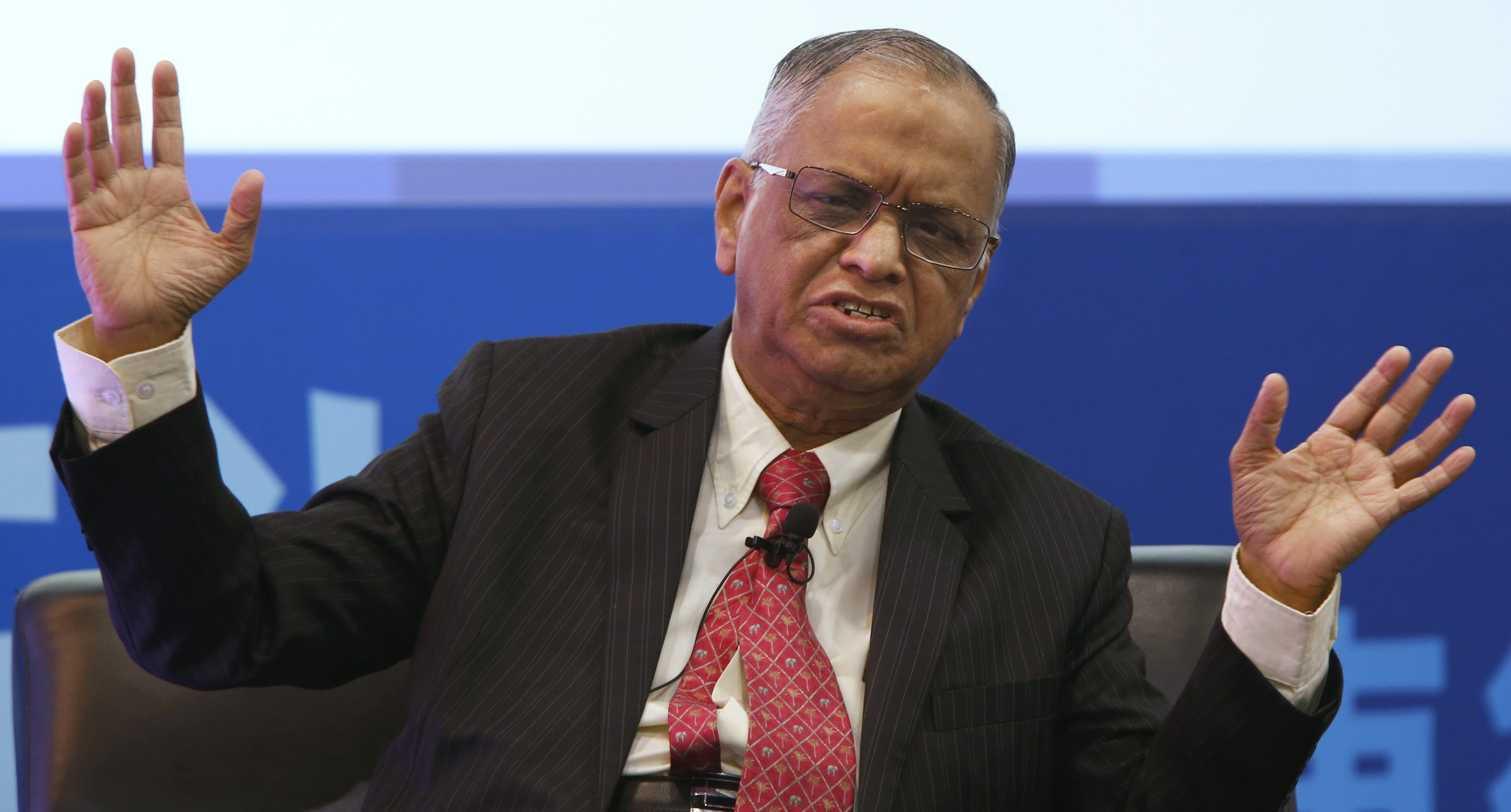 Narayana Murthy, founder of Infosys Limited, speaks during a dialogue session at the Asian Financial Forum in Hong Kong January 19, 2015.