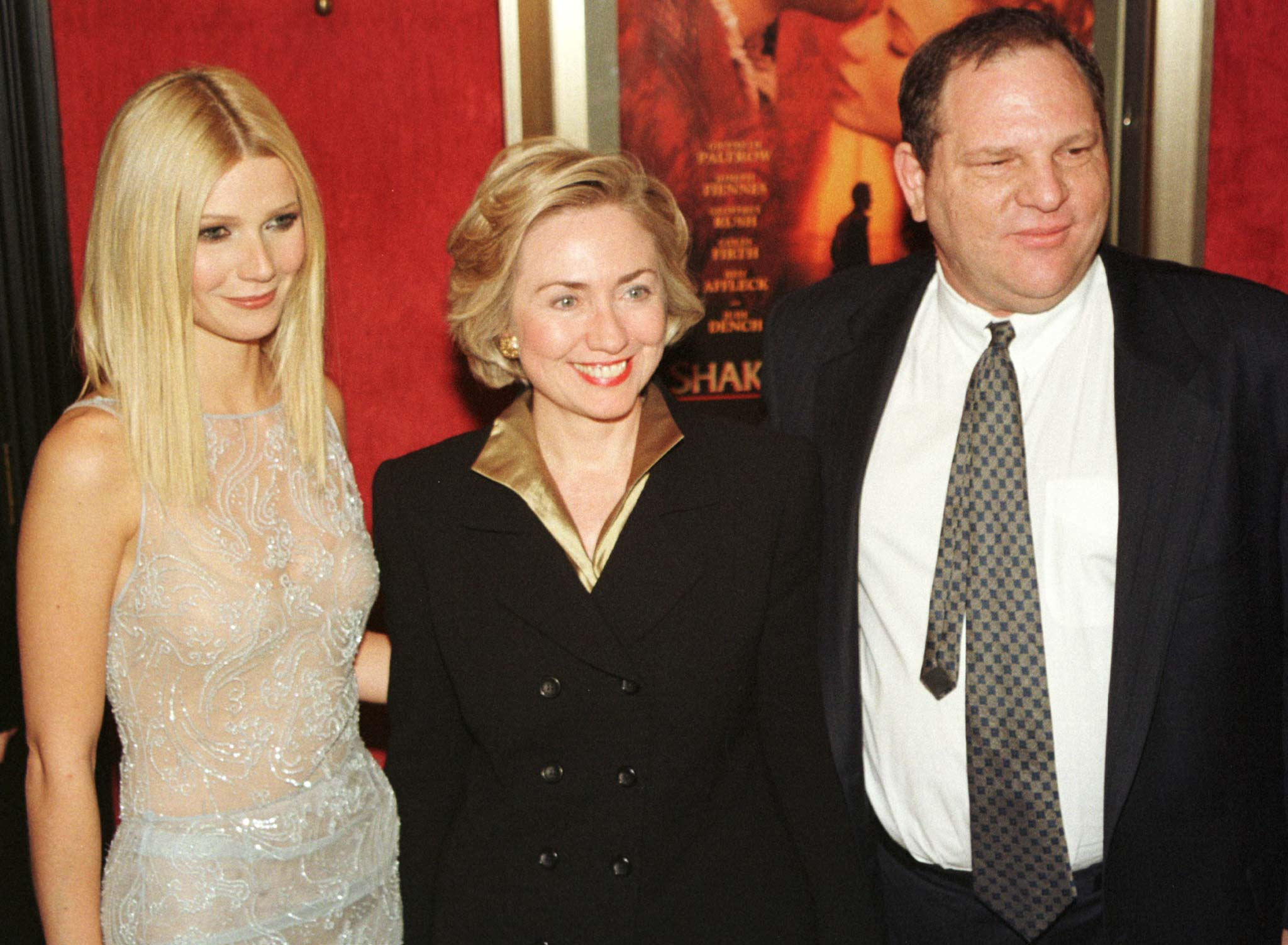 "Actress Gwyneth Paltrow (L) poses with first lady Hillary Rodham Clinton (C) and Miramax co-chairman Harvey Weinstein as they arrive for the premiere of ""Shakespeare in Love"" in New York on December 3. Clinton introduced the film, which stars Paltrow, Joseph Fiennes, and Geoffrey Rush. It opens in New York and Los Angeles on December 11 and nationally on Christmas Day.  PM/ELD - RP1DRIFRNPAG"