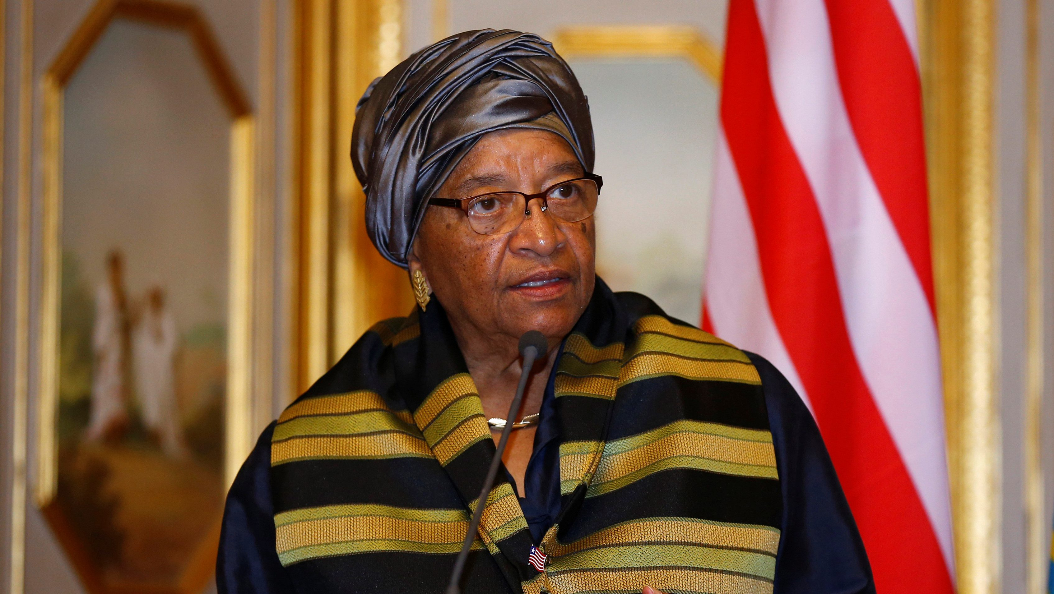 Liberia's President Ellen Johnson-Sirleaf addresses a news conference at the National Palace during her official visit to Ethiopia's capital Addis Ababa