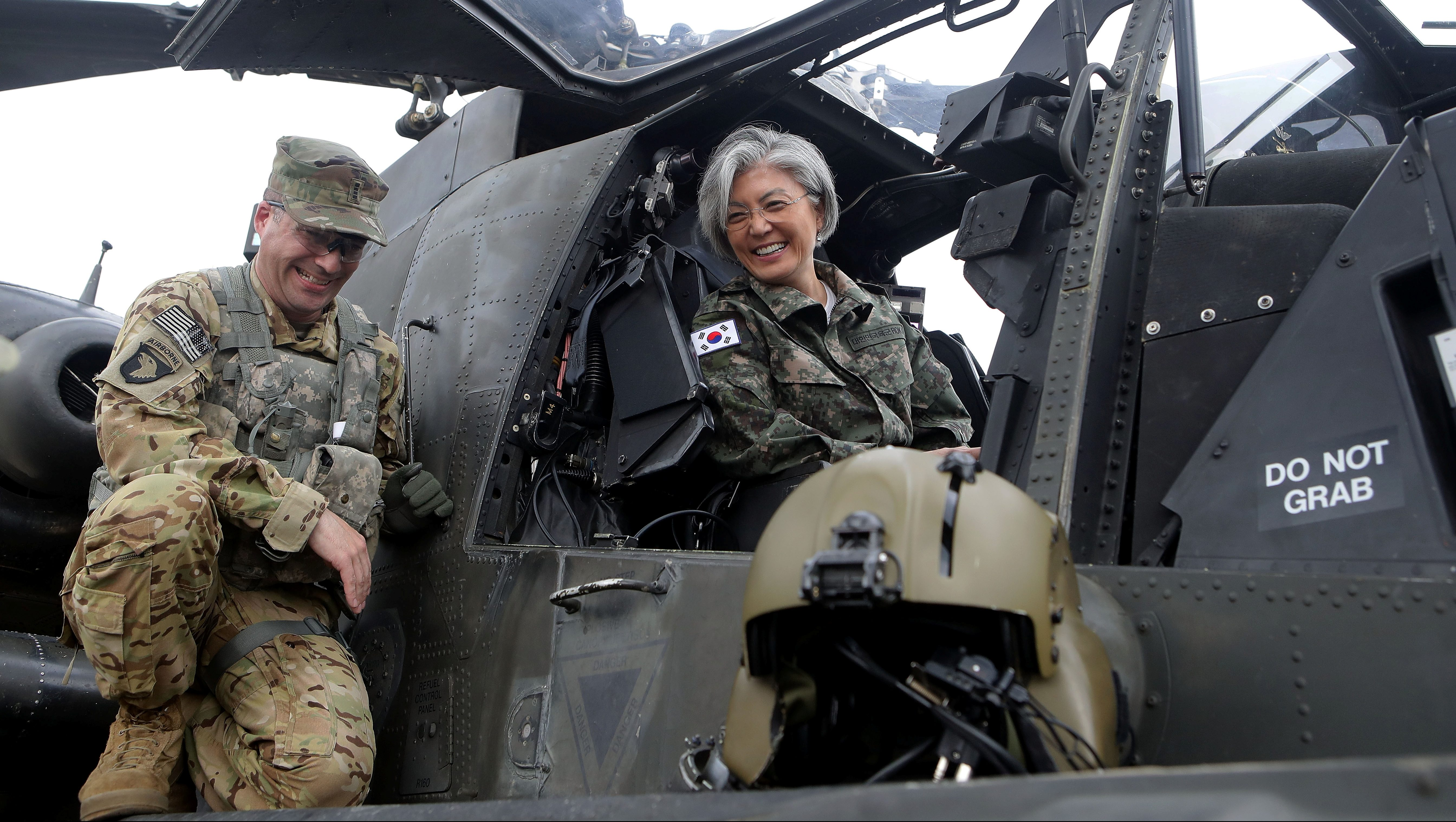 South Korean Foreign Minister Kang Kyung-wha sits in a AH-64D Apache Longbow helicopter as as she visits the headquarters of the South Korea-US Combined 2nd Infantry Division at the Camp Red Cloud in Uijeongbu, South Korea June 25, 2017. REUTERS/Chung Sung-Jun/Pool  *** Local Caption *** Kang Kyung-wha - RC1DBB6A0D90