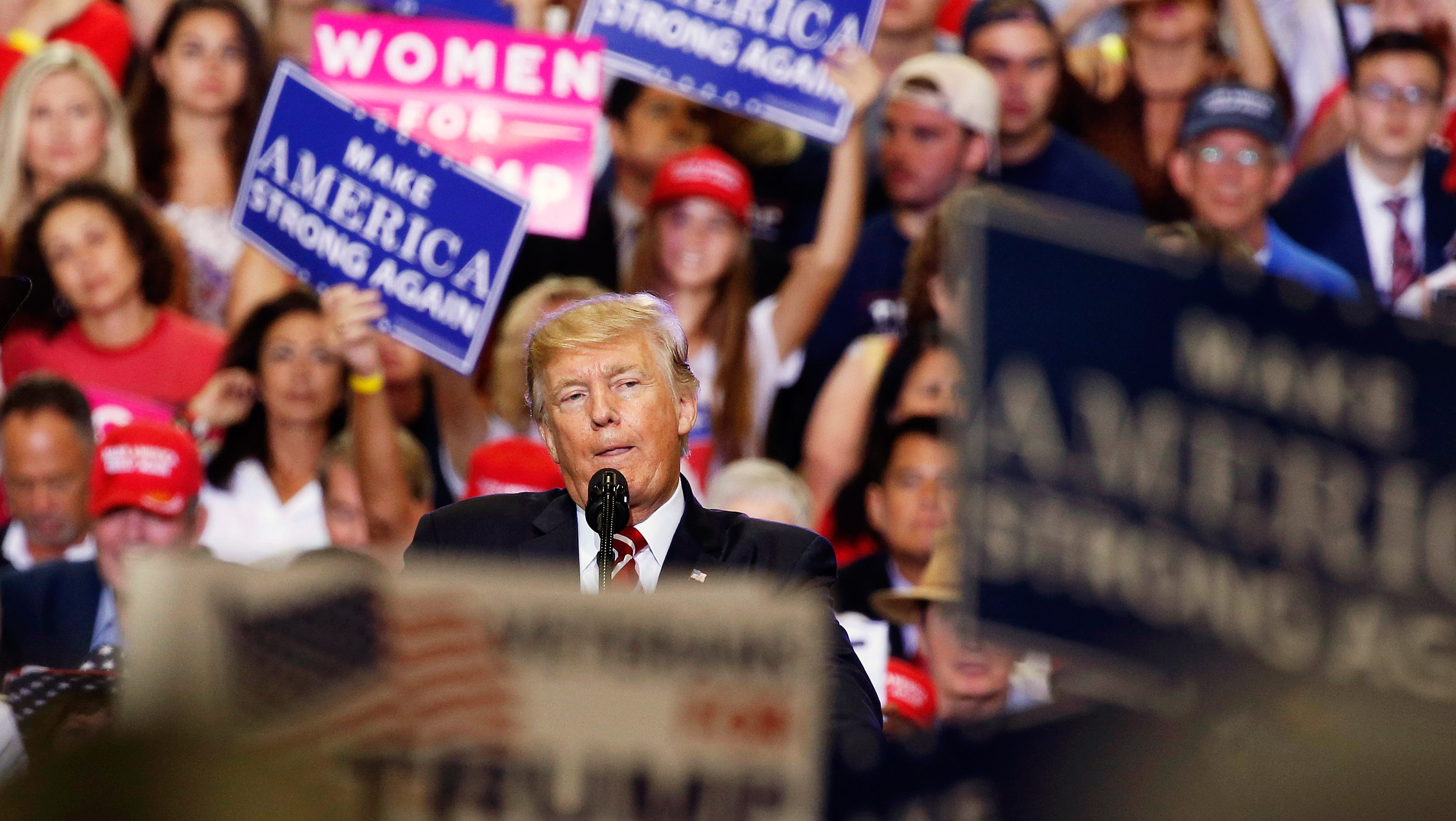 U.S. President Donald Trump speaks at a campaign rally in Phoenix, Arizona, U.S., August 22, 2017.