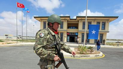 A Turkish military officer participates during the opening ceremony of a Turkish military base in Mogadishu, Somalia September 30, 2017