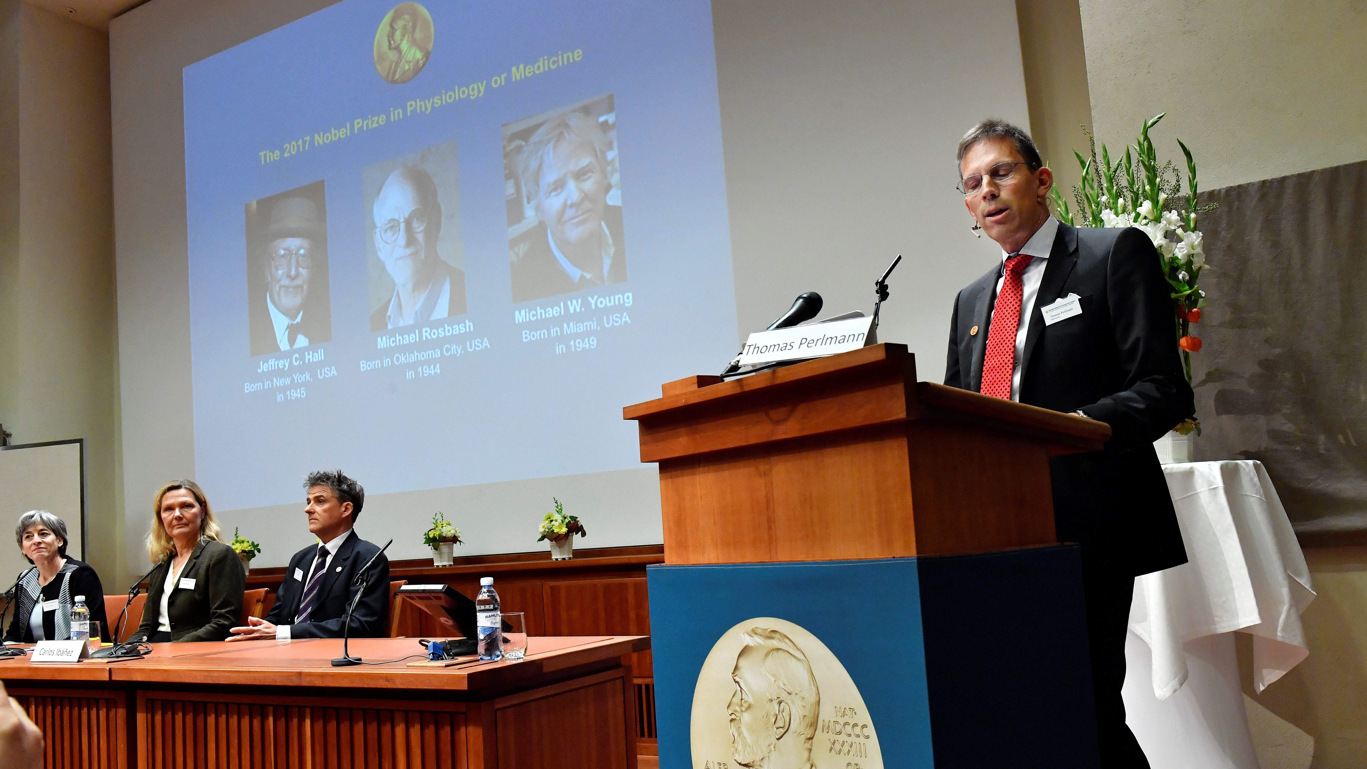Thomas Perlmann, Secretary of the Nobel Committee for Physiology or Medicine, announces the names of Jeffrey C. Hall, Michael Rosbash and Michael W. Young  as winners of the 2017 Nobel Prize in Physiology or Medicine
