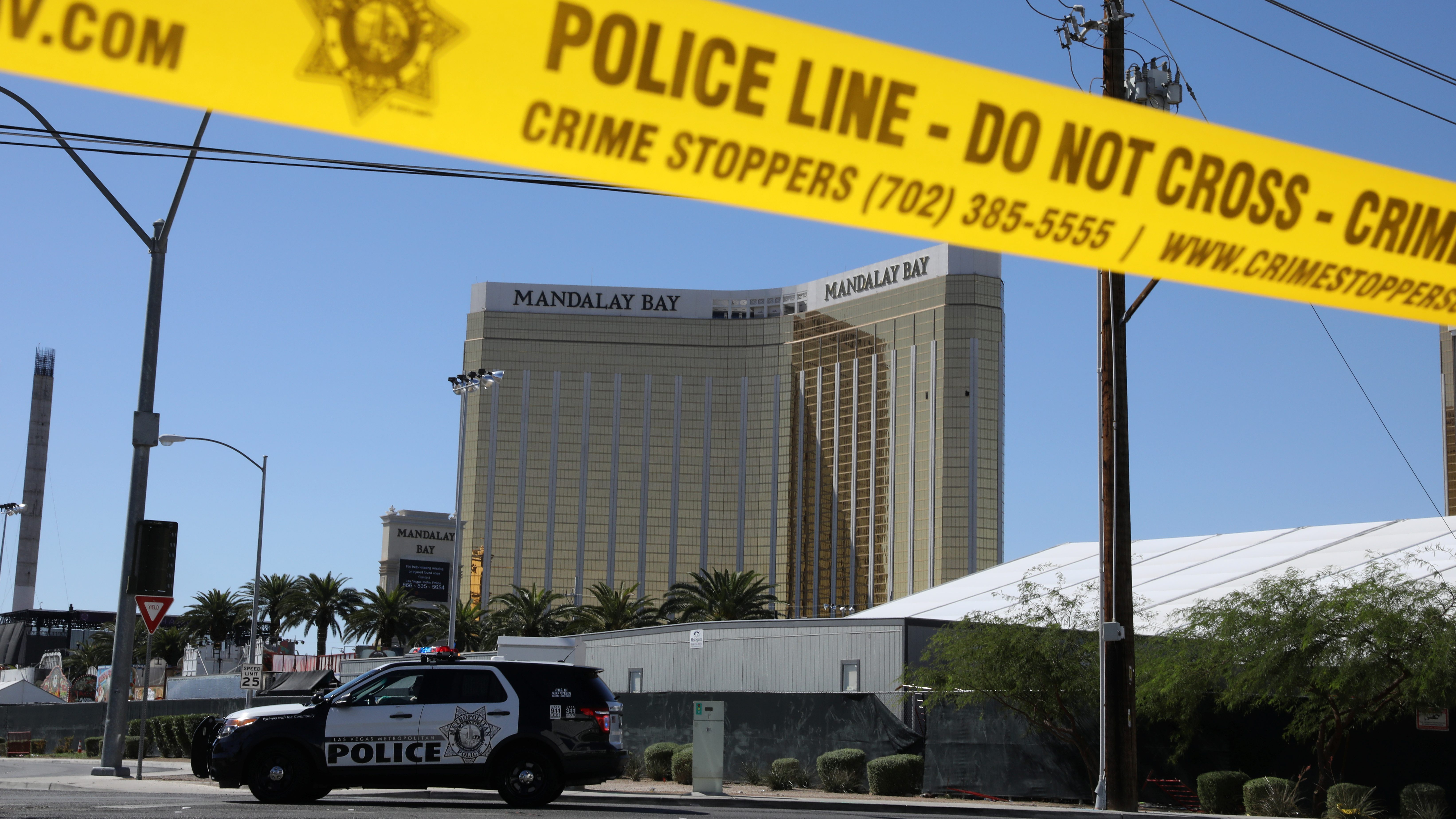 The site of the Route 91 music festival mass shooting is seen outside the Mandalay Bay Resort and Casino in Las Vegas, Nevada, U.S. October 2, 2017. REUTERS/Lucy Nicholson - RC1DF77E3010