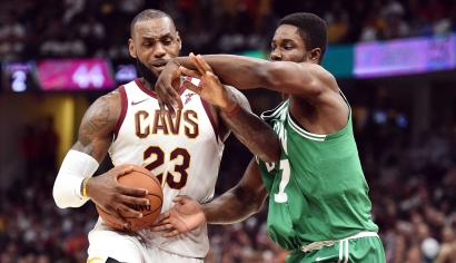 Oct 17, 2017; Cleveland, OH, USA; Cleveland Cavaliers forward LeBron James (23) drives to the basket against Boston Celtics forward Semi Ojeleye (37) during the first half at Quicken Loans Arena. Mandatory Credit: Ken Blaze-USA TODAY Sports - 10353488