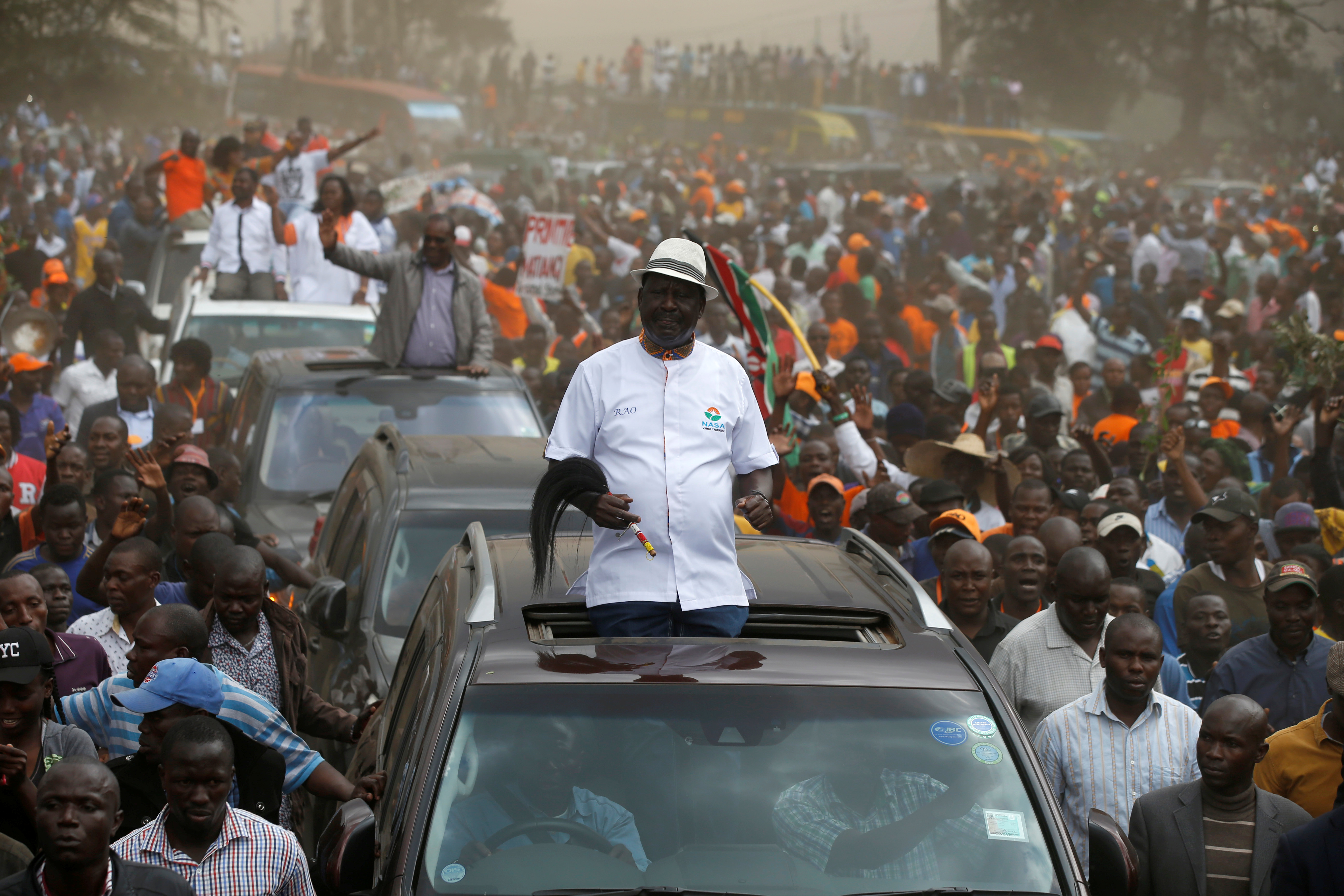 Kenyan opposition leader Raila Odinga, the presidential candidate of the National Super Alliance (NASA) coalition, arrives for a political rally at the Kamukunji grounds in Nairobi, Kenya, October 18, 2017.