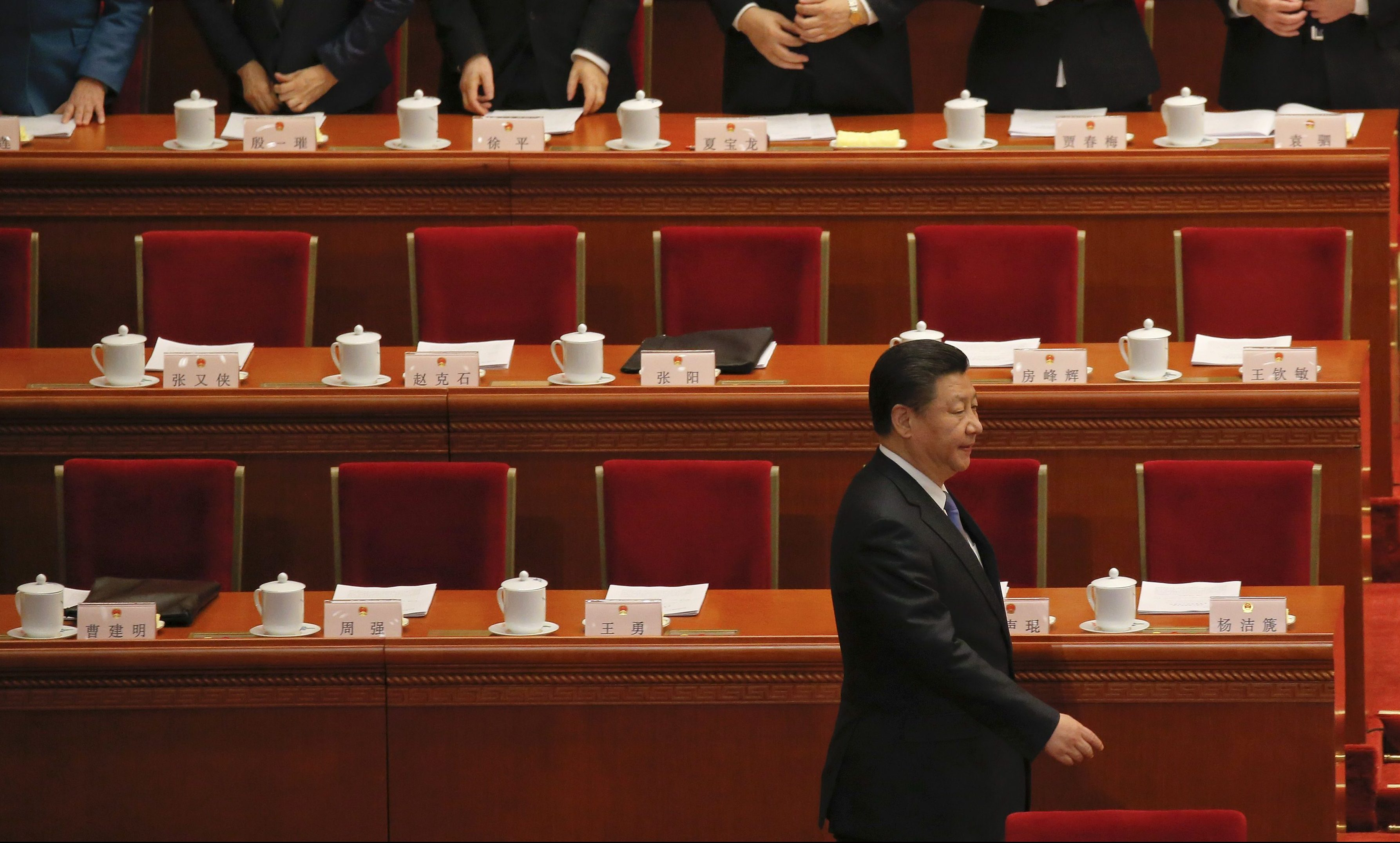 China's President Xi Jinping arrives for the second plenary session of the National People's Congress (NPC) at the Great Hall of the People in Beijing, China, March 9, 2016.