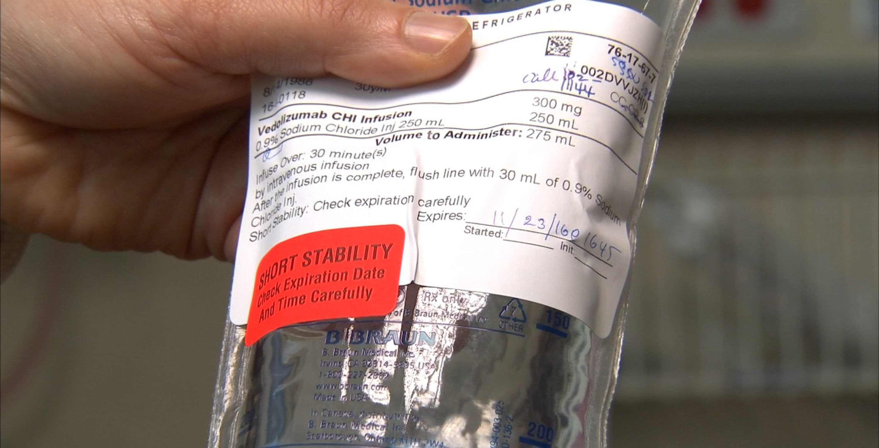 An IV bag of an HIV medication being tested at the National Institutes of Health is pictured in Bethesda.