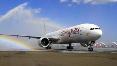 Ethiopian Airlines' newly acquired Boeing 777-300ER aircraft, with a seating capacity of 400 passengers, arrives at the Bole International Airport in Capital Addis Ababa November 8, 2013.