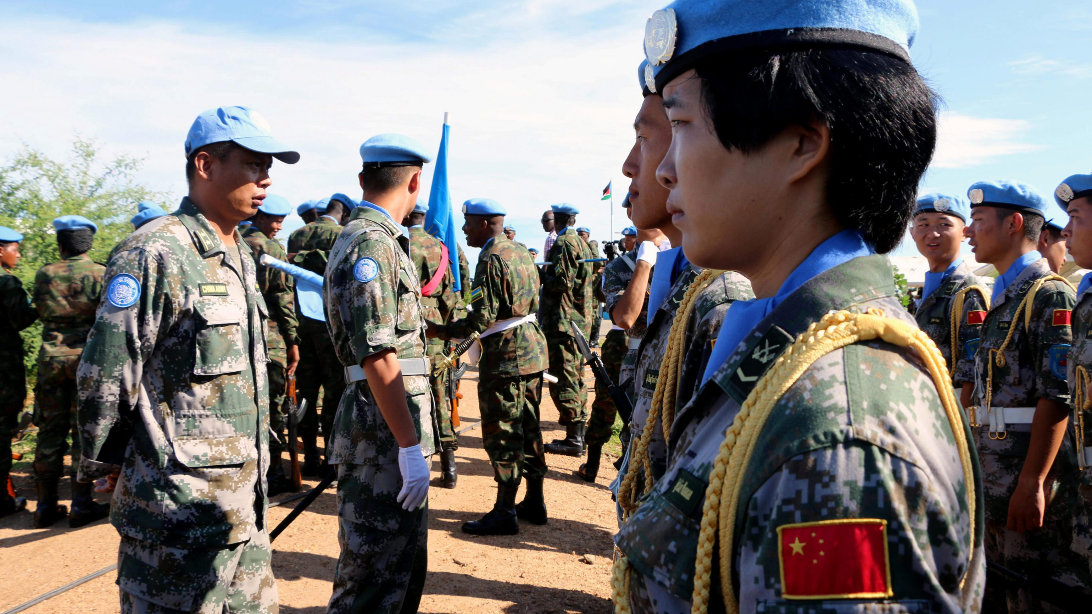 Chinese Peacekeepers in the United Nations Mission to South Sudan (UNMISS) parade during the International Day of United Nations Peacekeepers in Juba, South Sudan May 29, 2017.