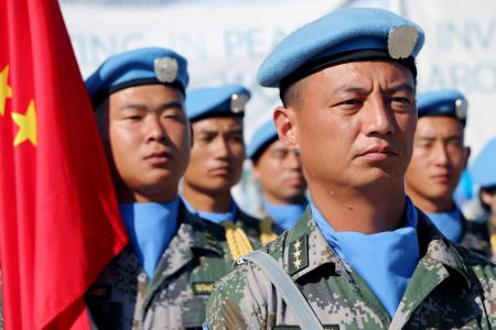 Chinese Peacekeepers in the United Nations Mission to South Sudan (UNMISS) parade in Juba.
