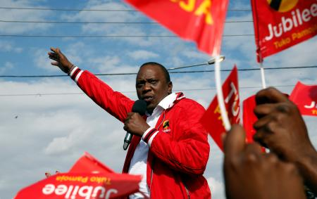 Kenya's President Uhuru Kenyatta addresses a Jubilee Party campaign caravan rally in Nairobi, Kenya October 23, 2017.