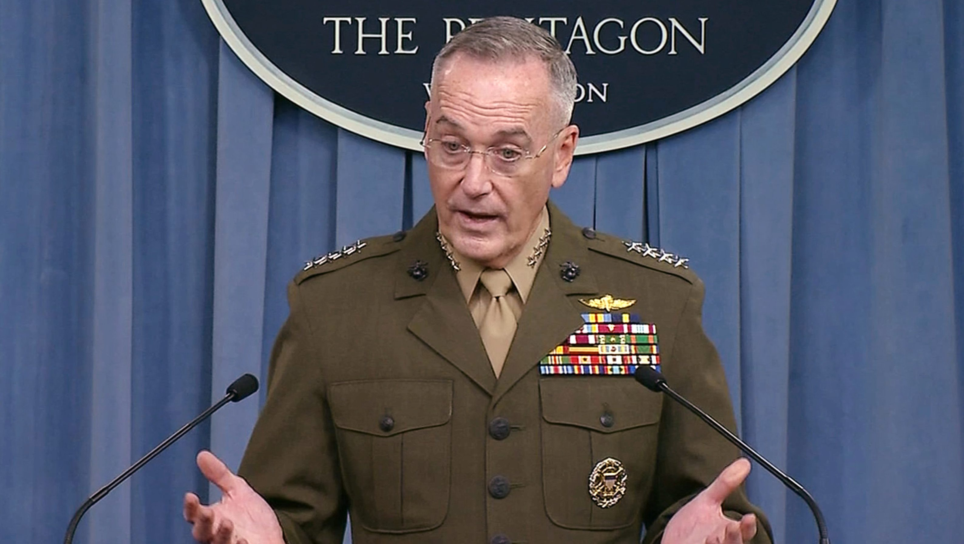 U.S. Joint Chiefs of Staff Chairman General Joseph Dunford is seen in a frame grab from U.S. Department of Defense video as he speaks to the media about the deaths of four U.S. Army special operations forces soldiers in Niger during a news conference about the attack at the Pentagon in Washington, U.S. October 23, 2017. - RC19F8D9F9A0