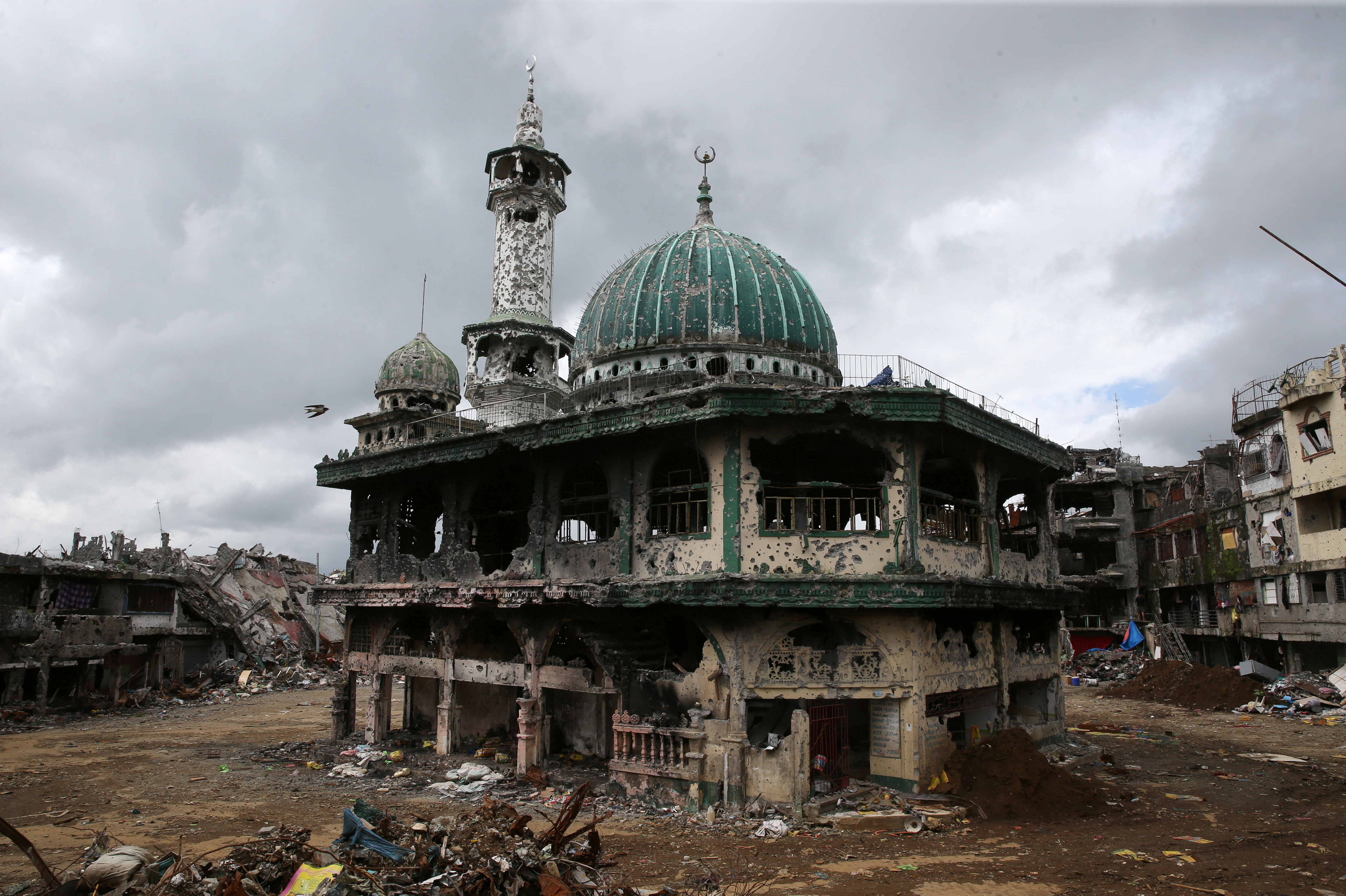 A damaged mosque is seen in Marawi city, Philippines, October 25, 2017.