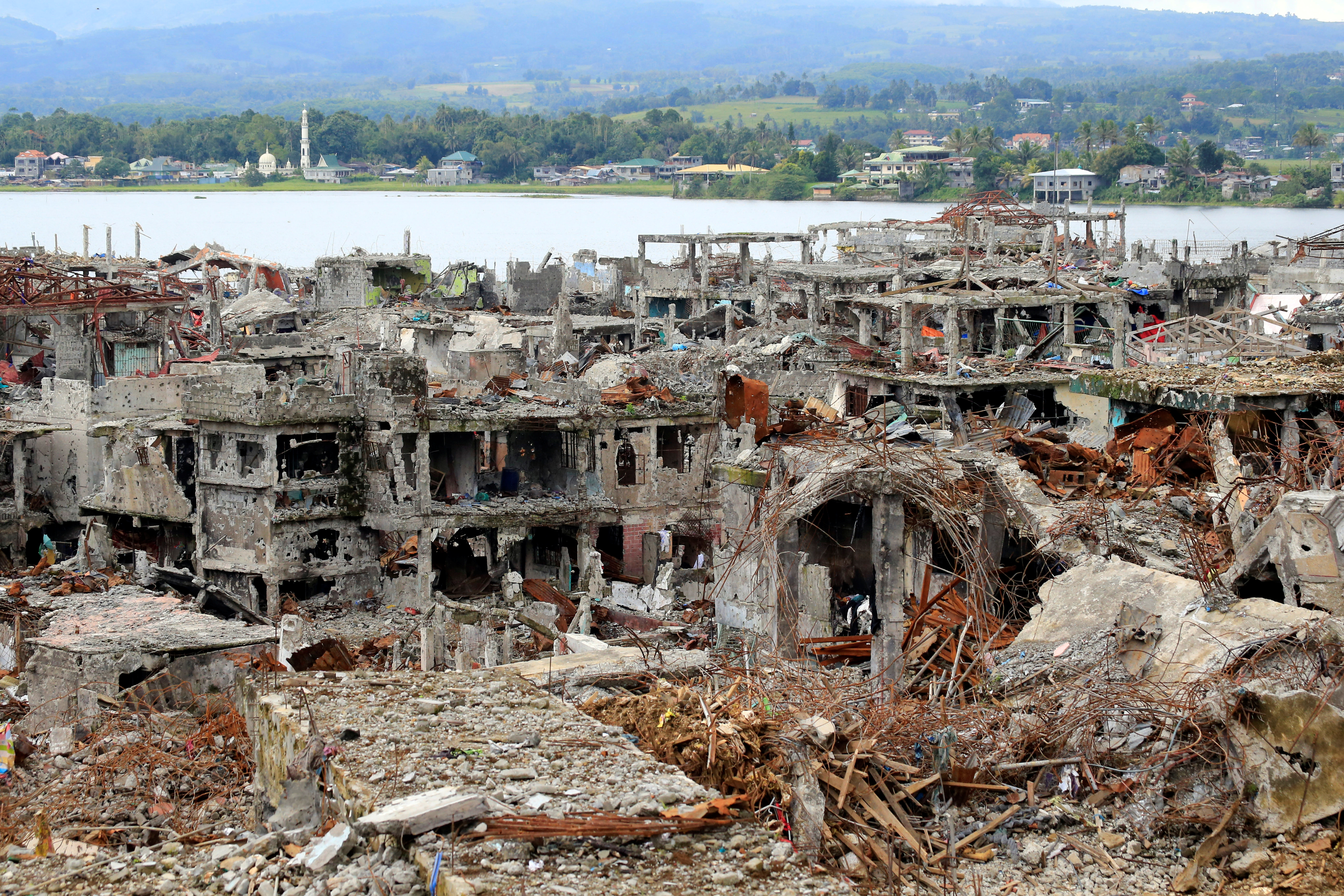 Damaged buildings and houses are seen in Marawi city, Philippines October 25, 2017.