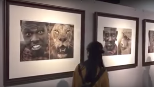The portraits of Africans alongside animals.
