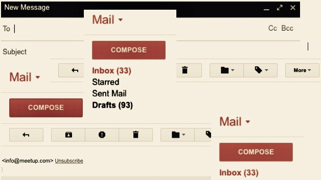 Email mailbox collage.
