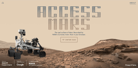 Access Mars landing page with the Curiosity Rover.