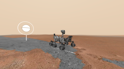 A virtual rendering of Curiosity Rover on Mars.