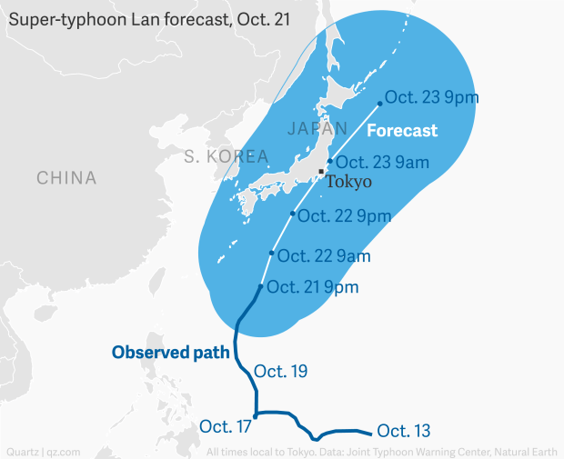 Super Typhoon Lan Is Headed For Japan Quartz