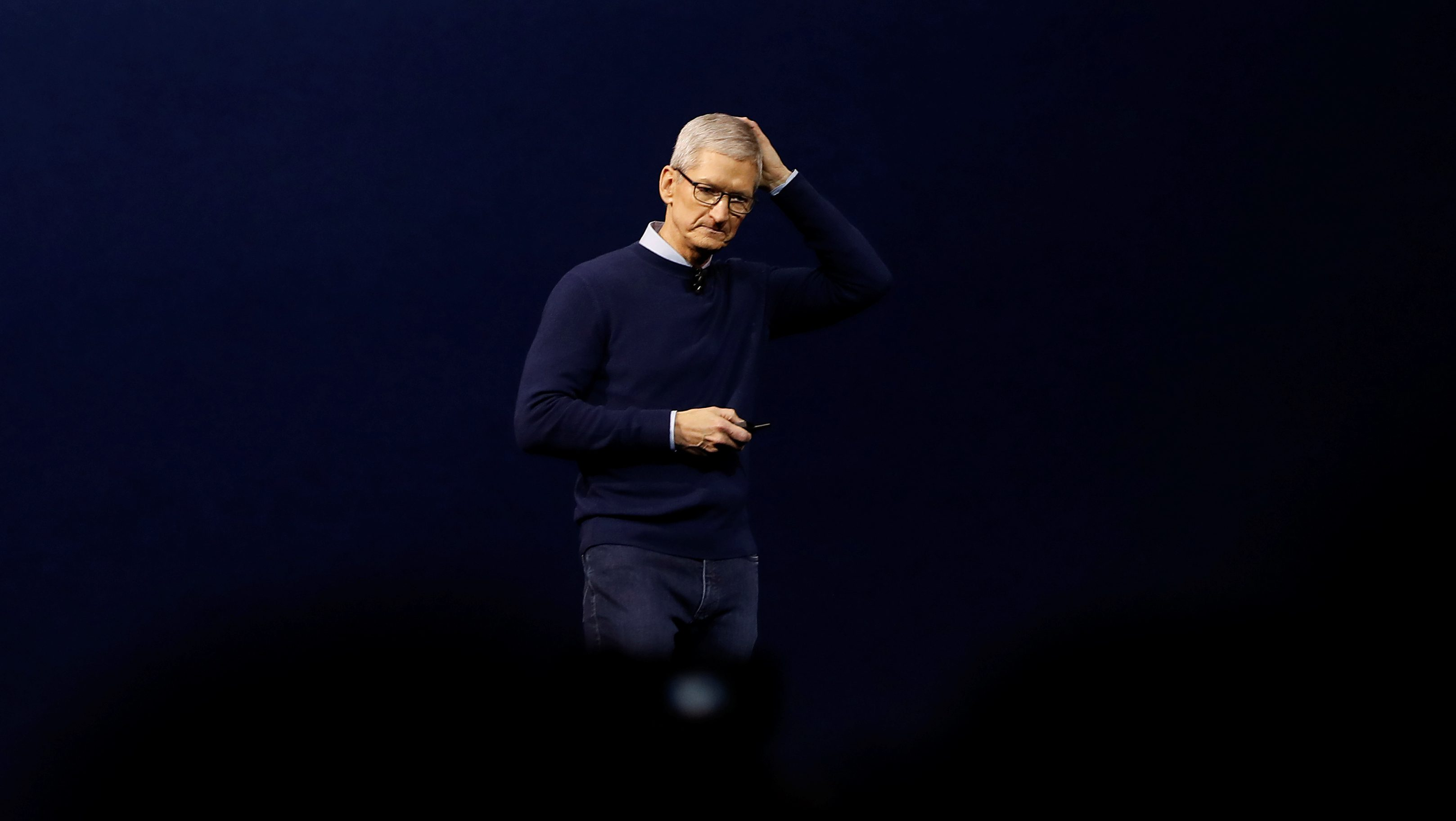 Apple CEO Tim Cook speaks on stage during Apple's annual Worldwide Developer Conference (WWDC) in San Jose, California, U.S. June 5, 2017.