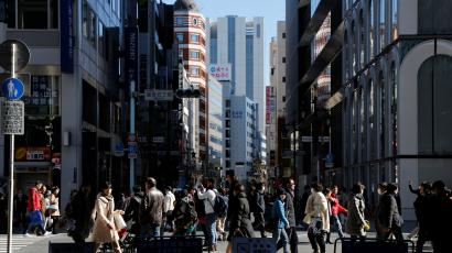 Street in Tokyo's Ginza shopping district, Japan