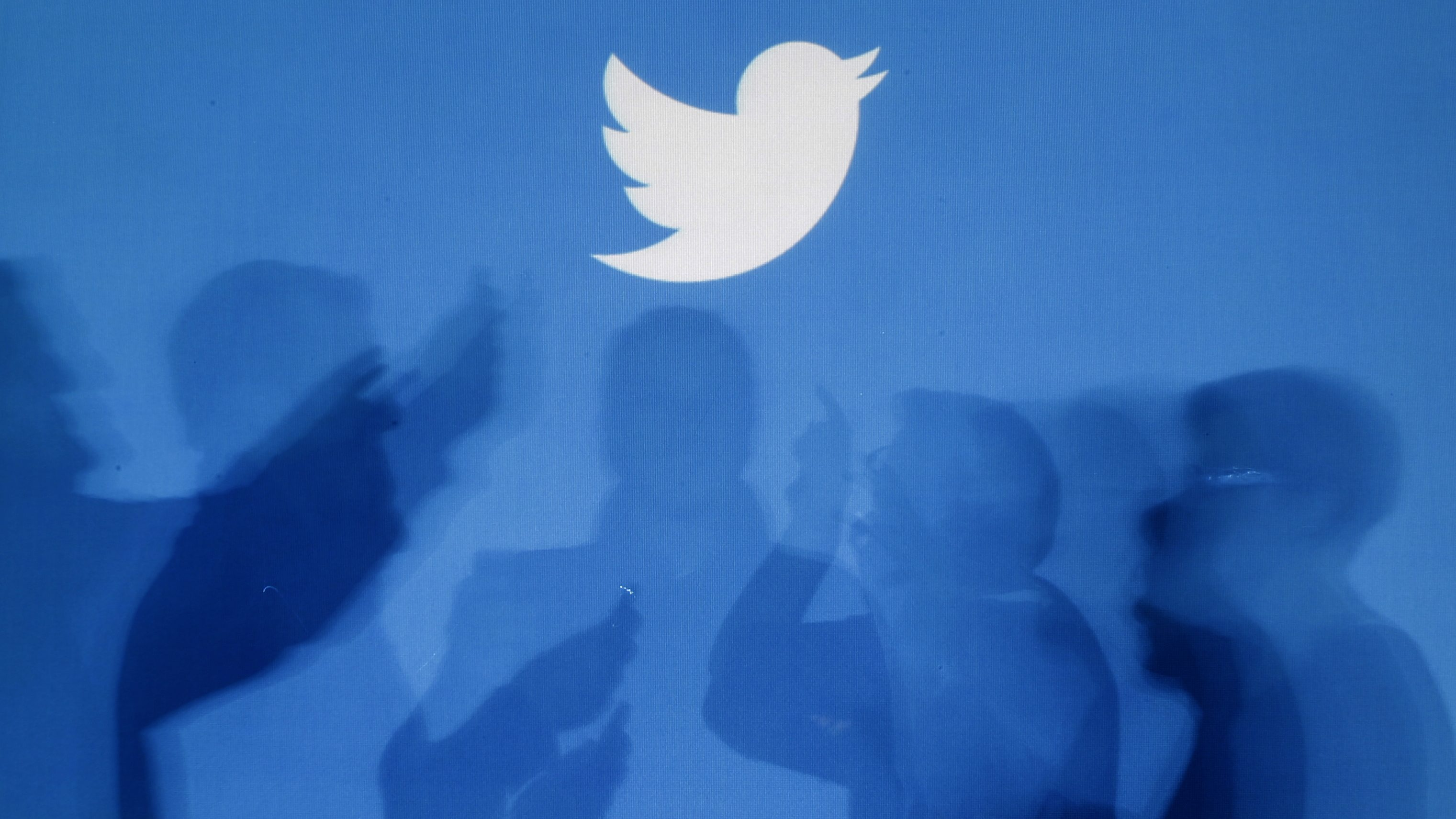 The shadows of people holding mobile phones are cast onto a backdrop projected with the Twitter logo in this illustration picture taken in  Warsaw September 27, 2013. Twitter Inc, the eight-year-old online messaging service, gave potential investors their first glance at its financials on Thursday when it publicly filed its IPO documents, setting the stage for one of the most-anticipated debuts in over a year. Picture taken September 27.