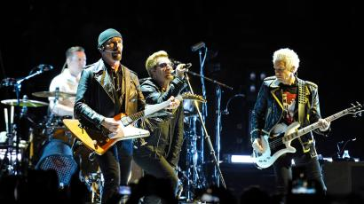 The Edge, Larry Mullen, Bono and Adam Clayton of U2 performing in concert at The O2 Arena. (London, England, UK)