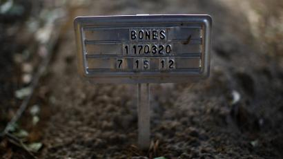The unidentified grave of a person whose remains were found in US side of the US-Mexico border