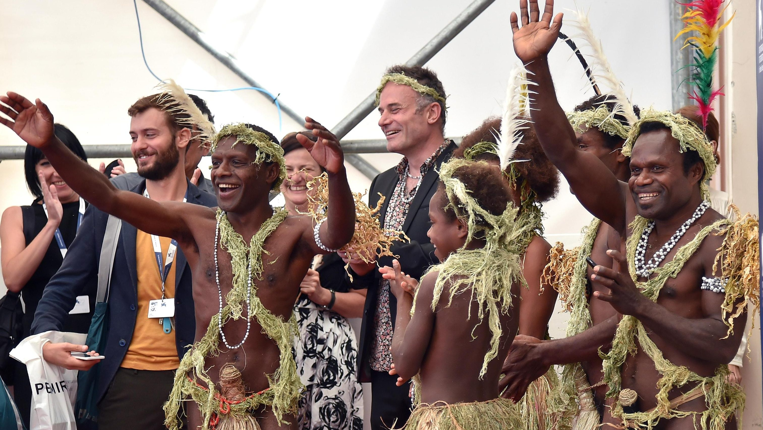 """Members of a tribe from Vanuatu island pose during the photocall of the movie """"Tanna"""" presented during the Film Critics Week at the 72nd annual Venice International Film Festival, in Venice, Italy, 08 September 2015. The festival which runs from o2 to 12 September."""