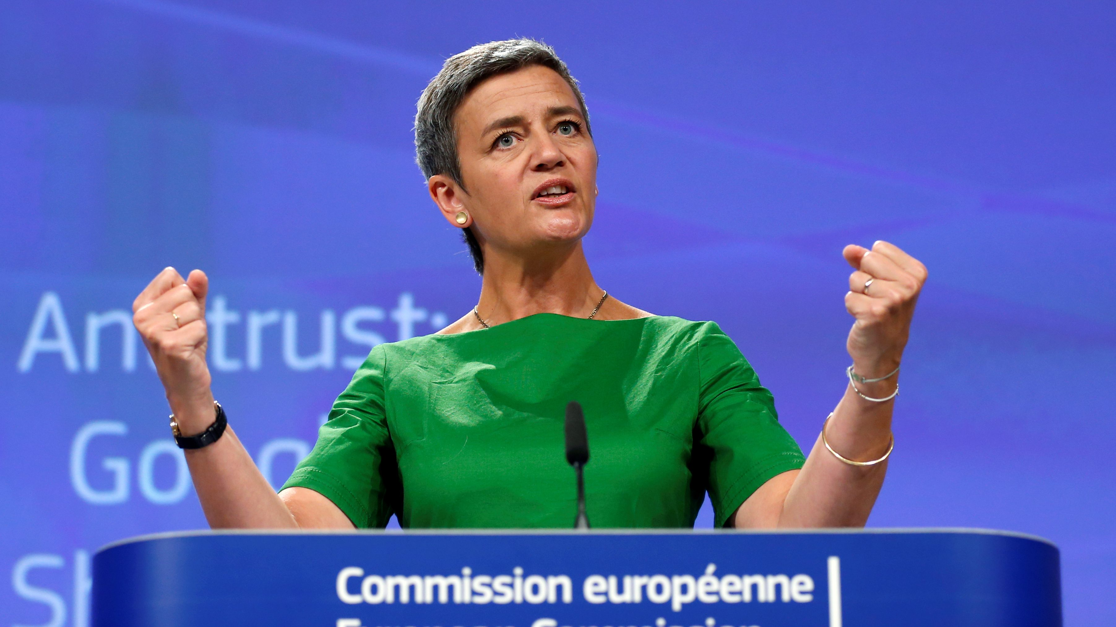 EU Competition Commissioner Vestager holds a news conference in Brussels