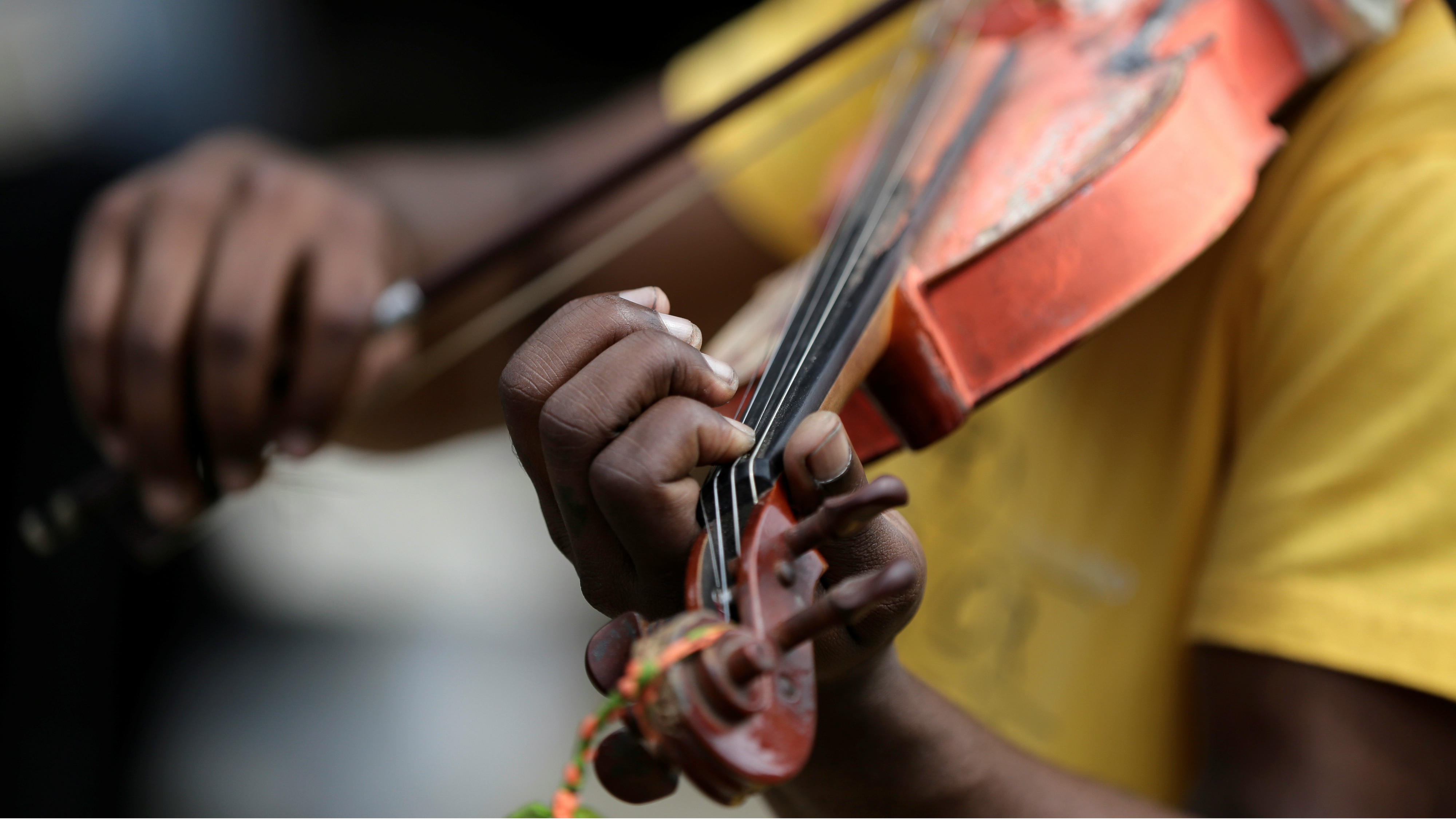 A person playing the violin.
