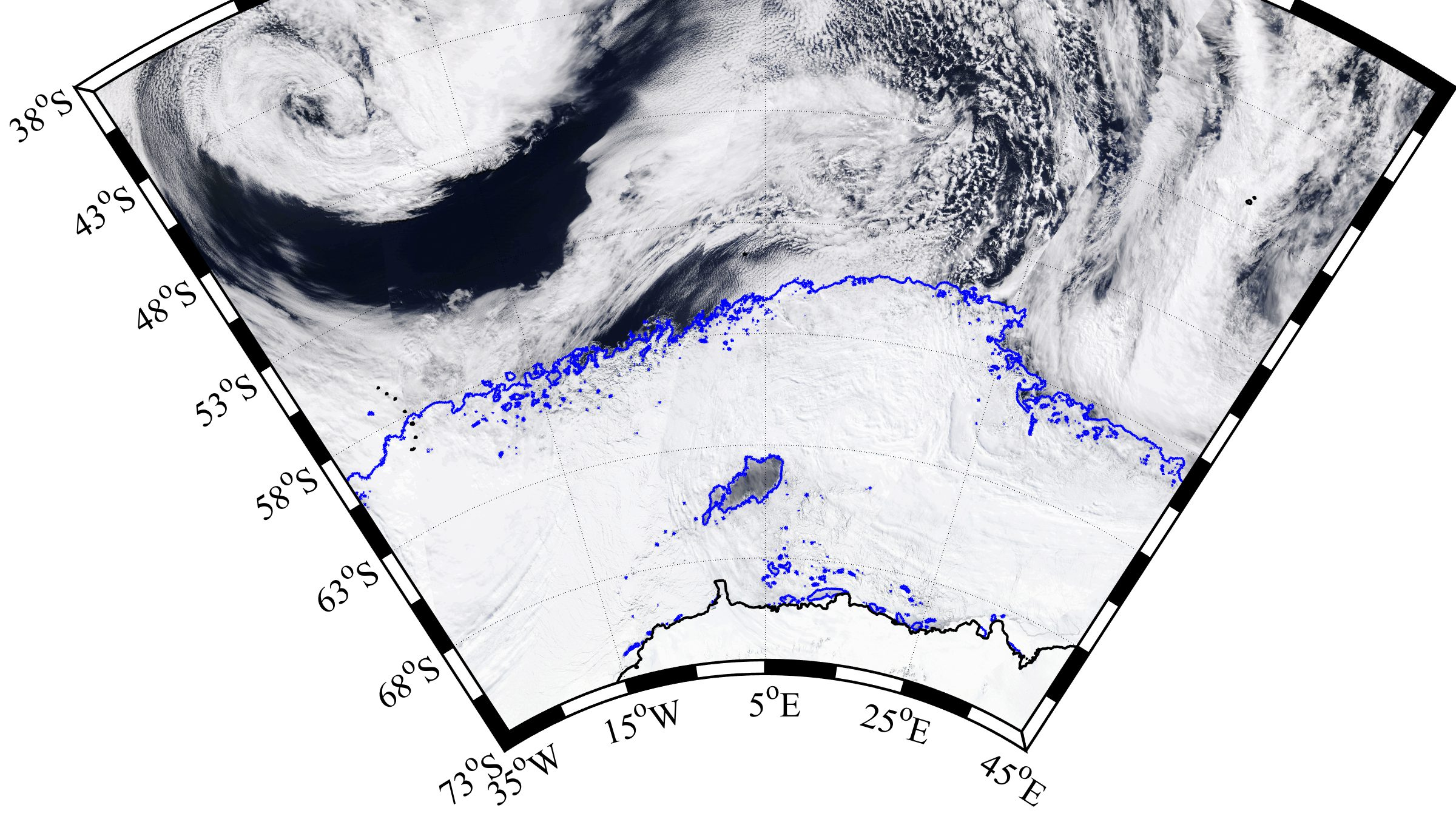 Winter sea ice blankets the Weddell Sea around Antarctica in this satellite image from September 25, 2017. The blue curves represent the ice edge. The polynya is the dark region of open water within the ice pack.