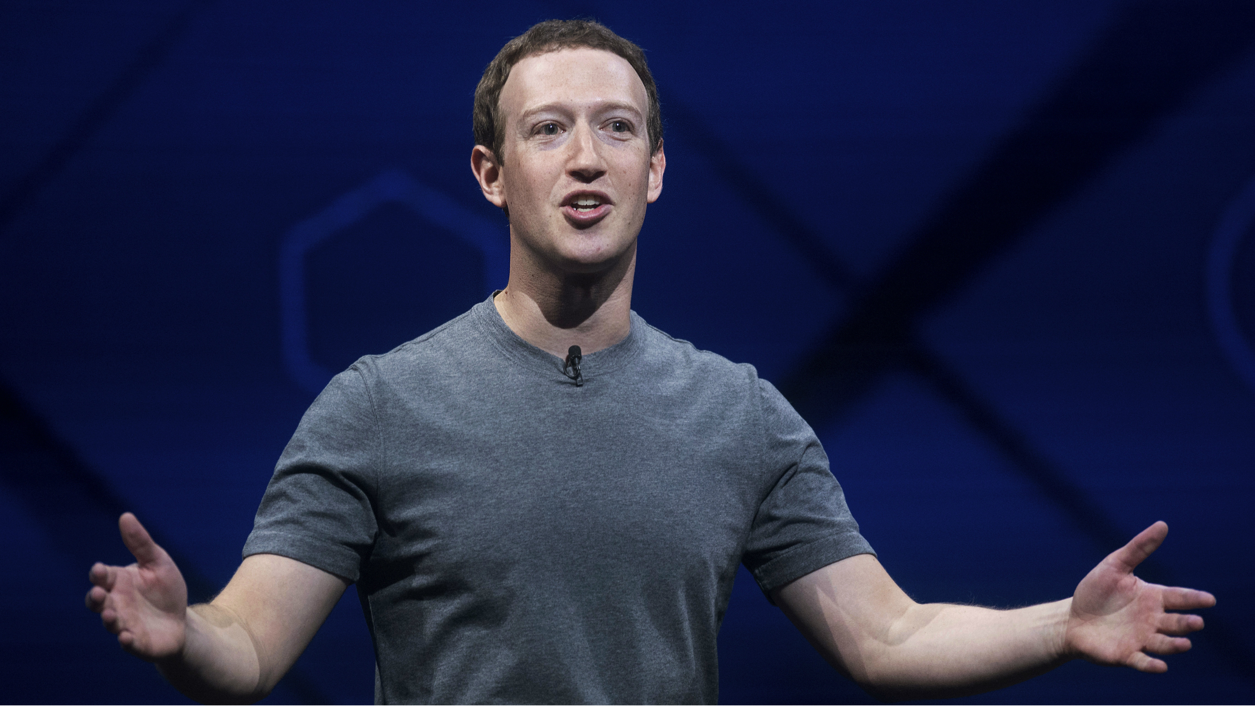 Mark Zuckerberg talking at a conference.