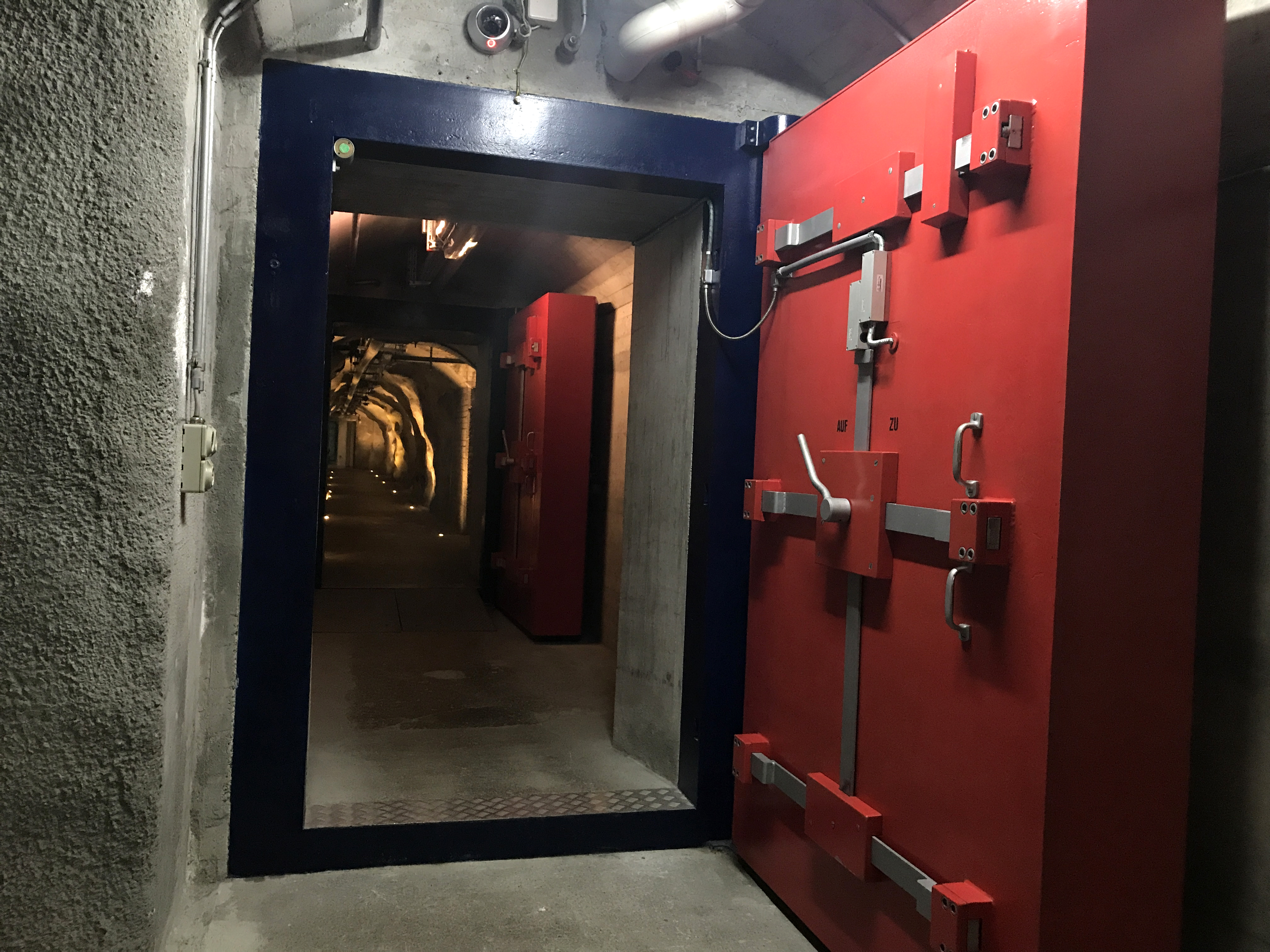 Nuclear blast-proof doors weighing four metric tons each.