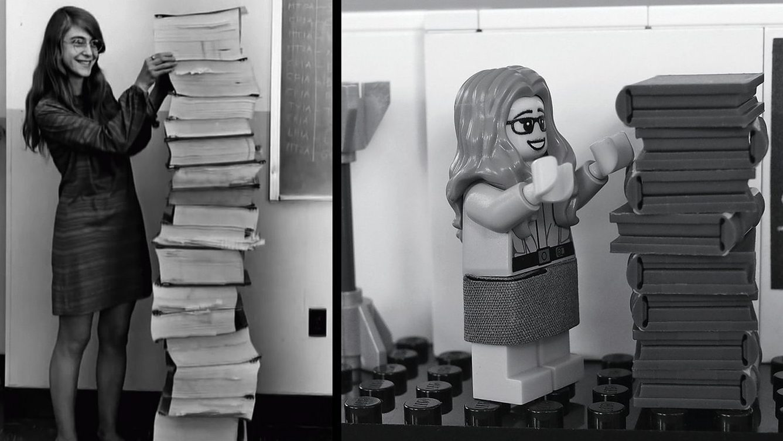 Margaretl Hamilton next to the code she wrote for the Apollo mission (L), and Lego's interpretation of the iconic photo.
