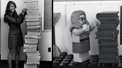 Margaretl Hamilton next to the code she wrote for the Apollo mission (L), and Lego's interpretation of the iconic photo.