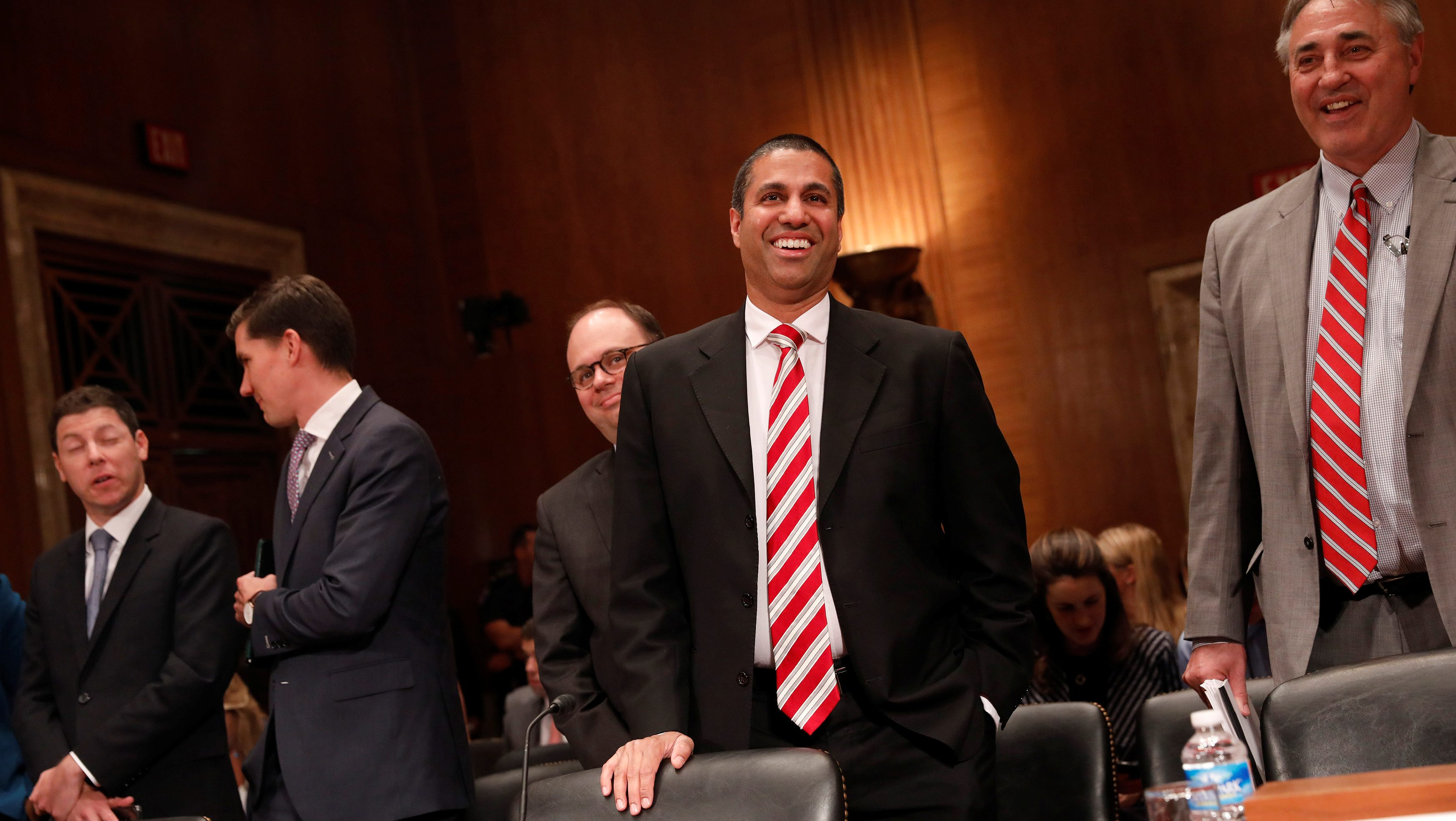 Ajit Pai, Chairman of the Federal Communications Commission, arrives to testify before a Senate Appropriations Financial Services and General Government Subcommittee on Capitol Hill in Washington