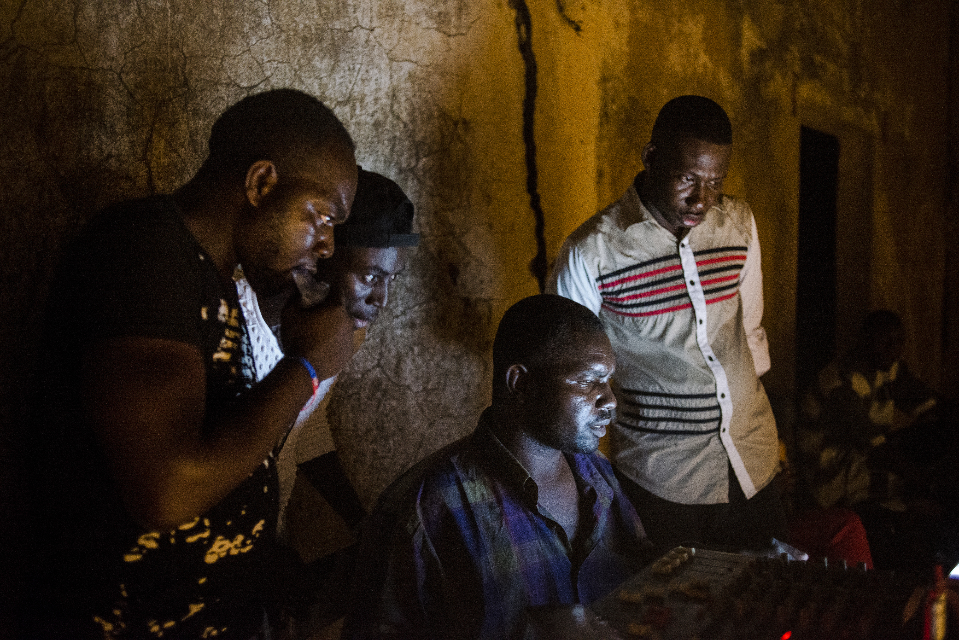 Concert organizers play music in-between performers on May 20, 2017 in Macina, Mali.