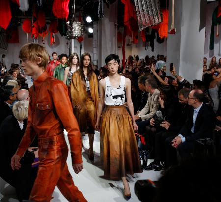 Models walk the runway at the Calvin Klein 2018 Spring/Summer fashion show during Fashion Week, Thursday, Sept. 7, 2017, in New York. (AP Photo/Kathy Willens)